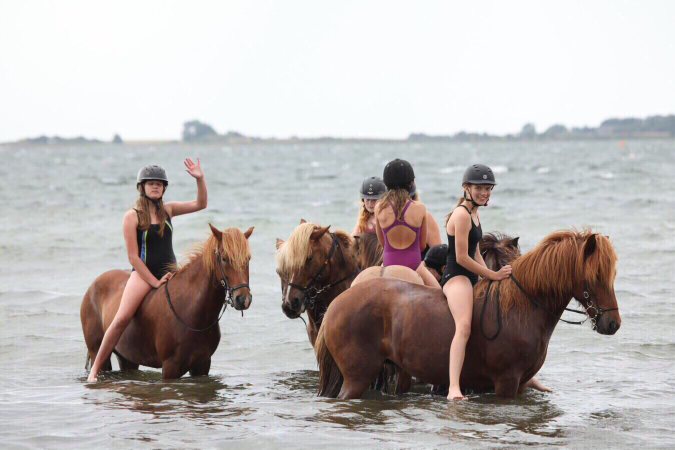 In the water on horses