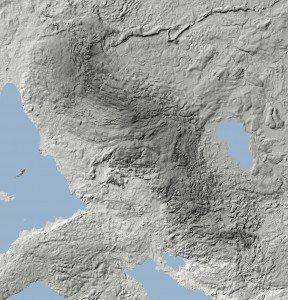 De Fynske Alper tegner sig tydeligt som det mørke område på dette højdekort (bearbejdet materiale fra Grundkort Fyn).