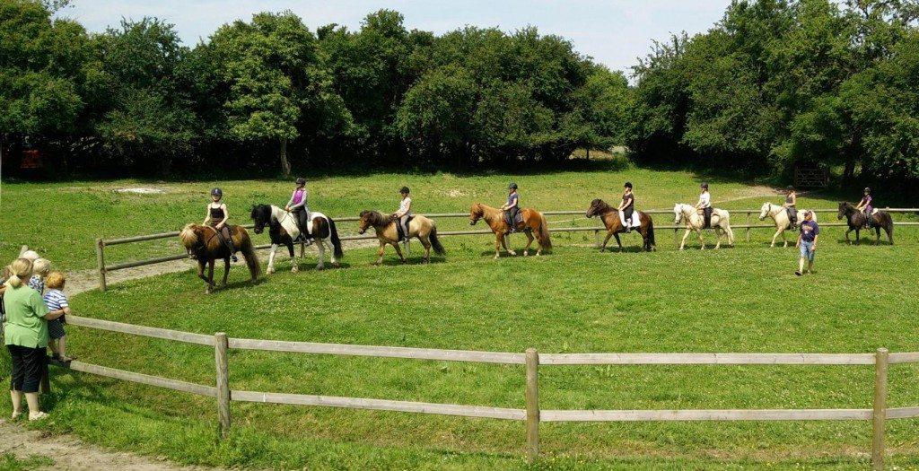 De unge ryttere på ridelejren 2015 undervises på banen.