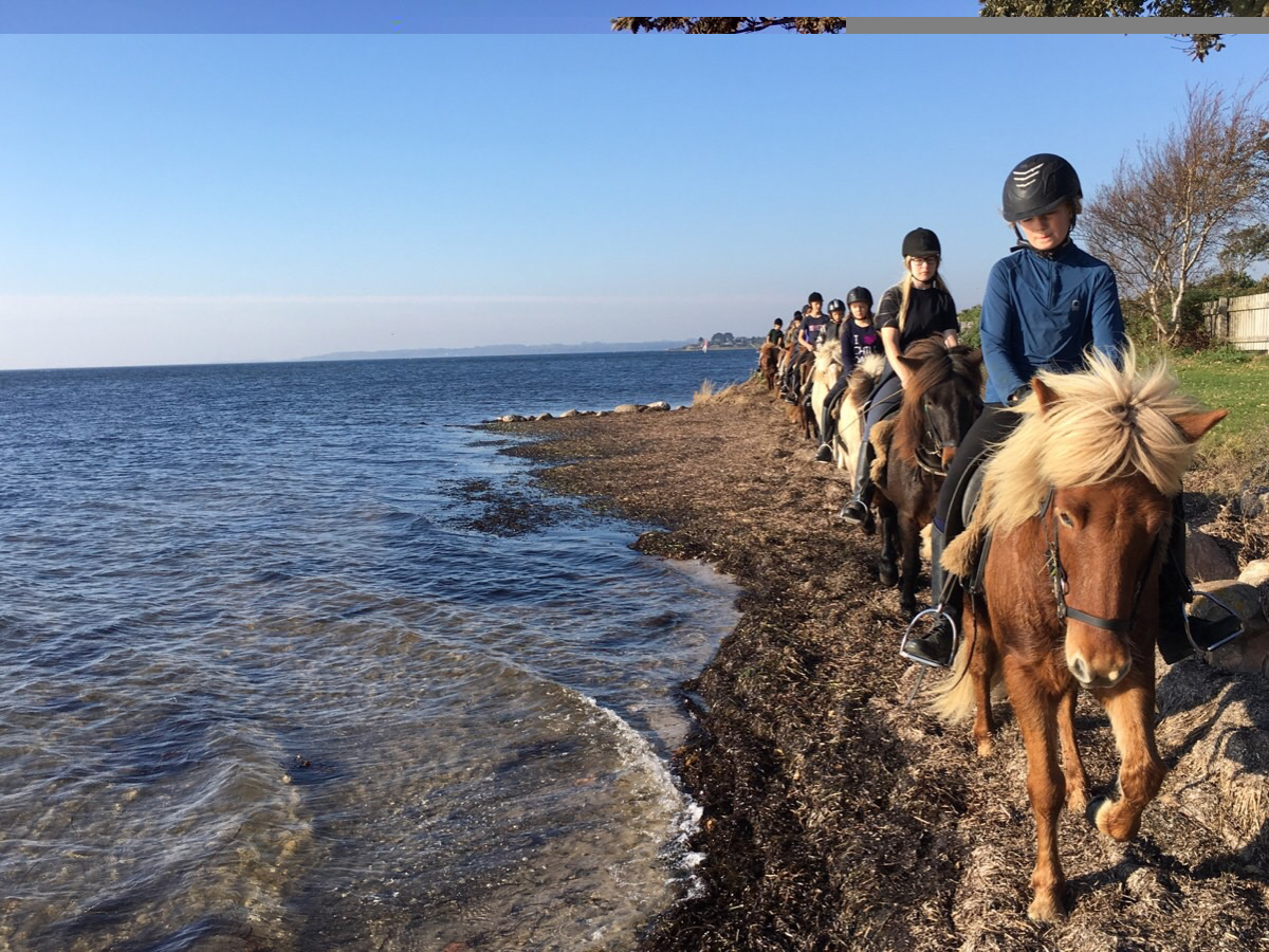 Ridelejrens tur til stranden