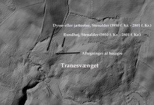 Højdekort viser Tranesvænge med gravhøje og højagre. Fra Grundkort Fyn.