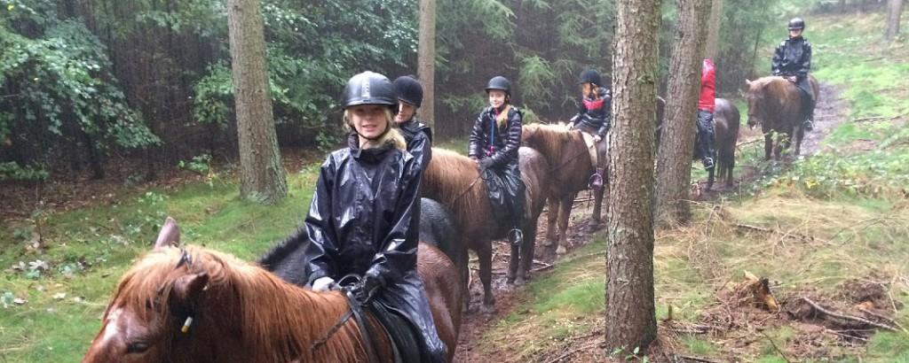 På anden ridelejr i efterårsferien regnede det kun en dag, og de seje ridepigerklarede turen i silende regn.